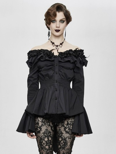 Eva Lady Black Romantic Elegant Gothic Flower Off-the-Shoulder Long Sleeve Blouse for Women