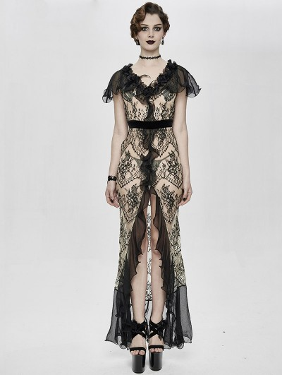 Eva Lady Vintage Elegant Gothic Sexy Lace Long Party Dress
