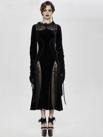 Eva Lady Black Sexy Gothic Velvet Long Party Dress
