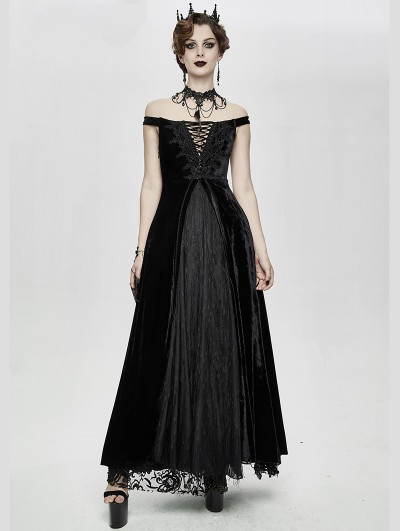 Eva Lady Black Vintage Sexy Gothic Off-the-Shoulder Velvet Long Prom Party Dress