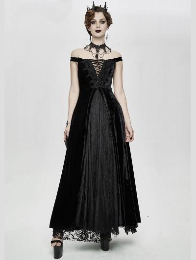 Eva Lady Black Vintage Sexy Gothic Off-the-Shoulder Velvet Long Prom Party Dress