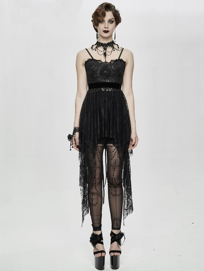 Eva Lady Black Gothic Lace Sleeveless Short Irregular Dress