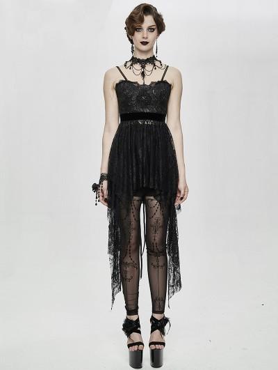 Eva Lady Black Gothic Lace Sleeveless Short Irregular Dress