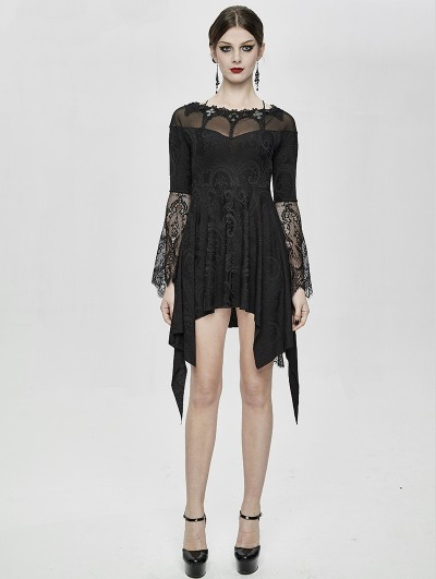Eva Lady Black Vintage Gothic Jacquard Short Irregular Dress