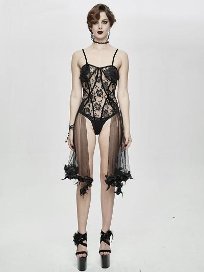 Eva Lady Black Sexy Gothic Transparent Lace Flower Corset Top for Women