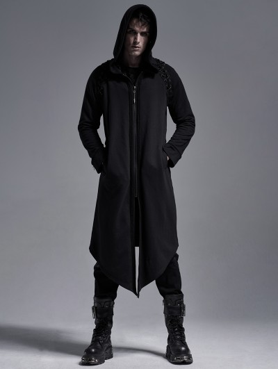 Punk Rave Black Gothic Casual Long Hooded Trench Coat for Men