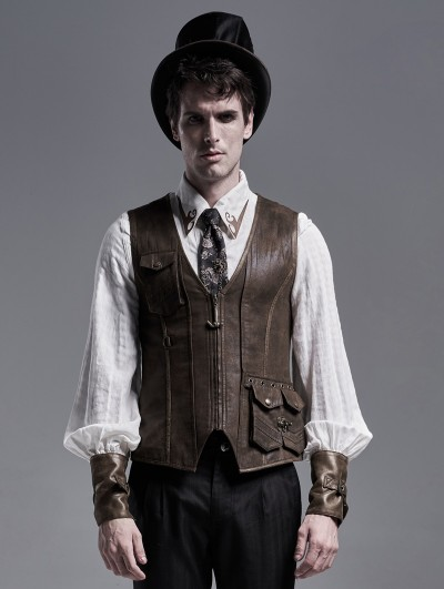 Punk Rave Brown Do Old Steampunk Vest for Men