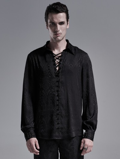Punk Rave Black Gothic Jacquard Long Sleeve Casual Shirt for Men