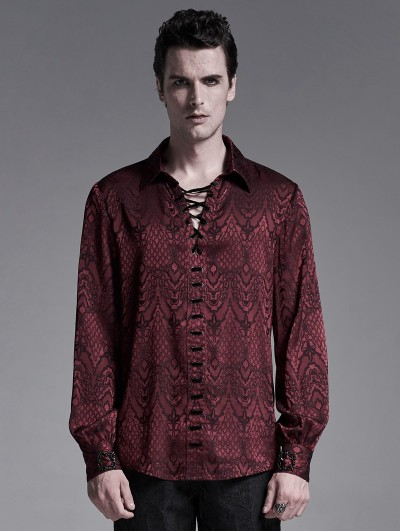 Punk Rave Dark Red Gothic Jacquard Long Sleeve Casual Shirt for Men