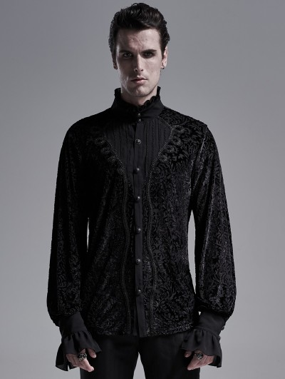 Punk Rave Black Vintage Gothic Palace Long Sleeve Shirt for Men