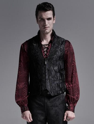 Punk Rave Black Gothic Jacquard Short Vest for Men