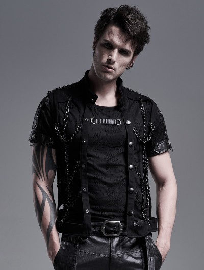 Punk Rave Black Gothic Punk Metal Hollow-out Chain Vest Top for Men