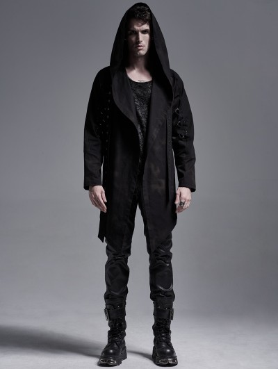 Punk Rave Dark Printed Gothic Punk Casual Hooded Trench Coat for Men