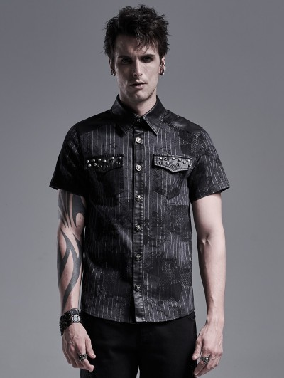 Punk Rave Black Stripe Gothic Punk Military Short Sleeve Shirt for Men