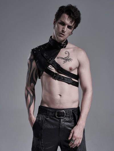 Punk Rave Black Gothic Punk PU Leather Shoulder Armor for Men