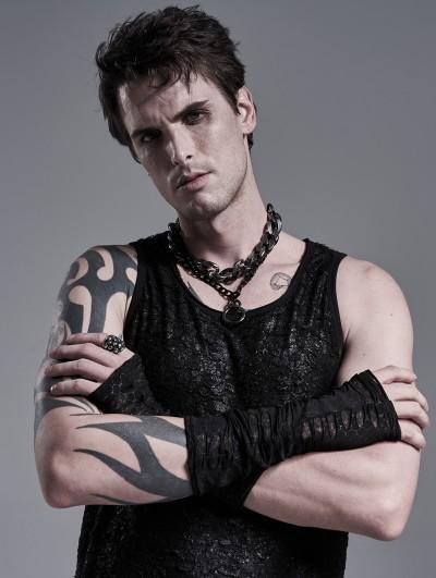 Punk Rave Black Gothic Punk Daily Hole Gloves for Men