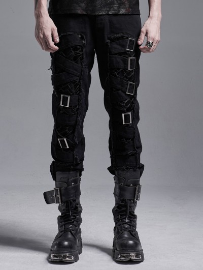 Punk Rave Black Gothic Punk Metal Long Casual Pants for Men