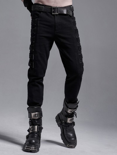 Punk Rave Black Gothic Punk Metal Long Casual Slim Pants for Men