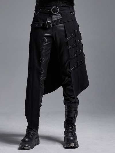 Punk Rave Black Gothic Punk Heavy Metal Irregular Skirt for Men