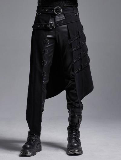 Punk Rave Black Gothic Punk Heavy Metal Irregular Skirt for Men
