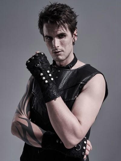 Punk Rave Black Gothic Punk Metal Knitted Rivet Gloves for Men