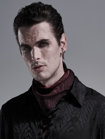 Punk Rave Dark Red Vintage Gothic Scarf for Men