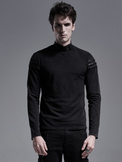 Punk Rave Black Gothic Knitted Long Sleeve Casual T-Shirt for Men