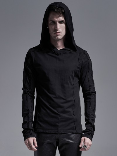 Punk Rave Black Gothic Casual Long Sleeve Hooded T-Shirt for Men
