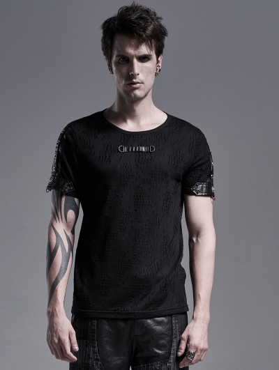 Punk Rave Black Gothic Punk Short Sleeve Casual T-Shirt for Men