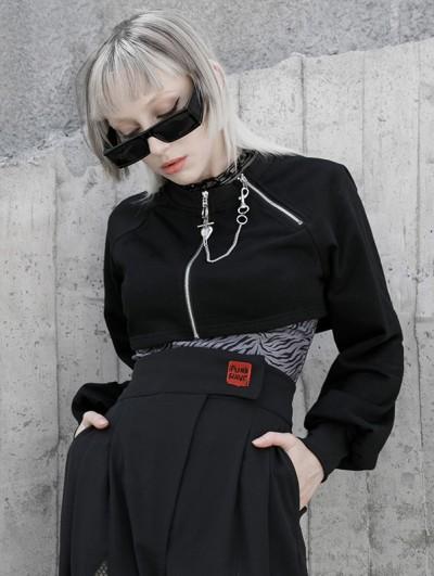 Punk Rave Black Street Fashion Gothic Punk Grunge Loose Mini Coat for Women