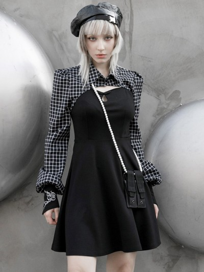 Punk Rave Black and White Plaid Street Fashion Gothic Grunge Two-pieces Long Sleeve Short Dress