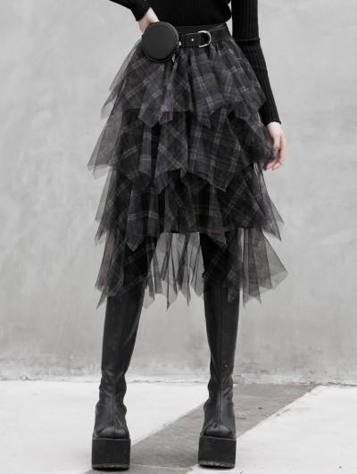 Punk Rave Black Plaid Street Fashion Gothic Grunge Long Daily Wear Skirt