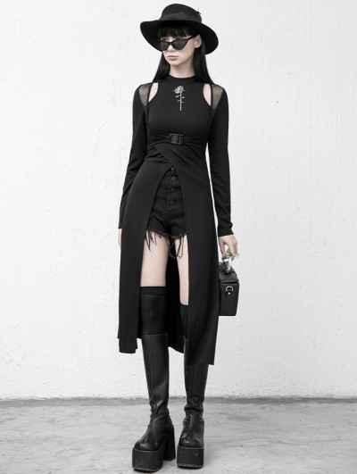 Punk Rave Black Street Fashion Gothic Grunge Hollowed-out Long Sleeve Daily Wear Dress