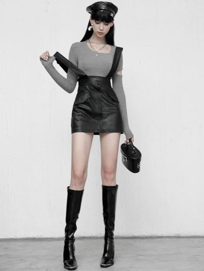 Punk Rave Black Gothic Grunge PU Leather Suspender Daily Wear Skirt