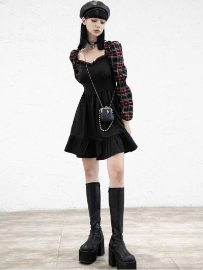 Punk Rave Black and Red Plaid Street Fashion Gothic Grunge Long Sleeve Short Dress