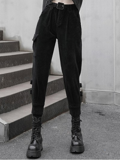 Punk Rave Black Women's Street Fashion Gothic Grunge Thick Long Pants with Adjustable Belt
