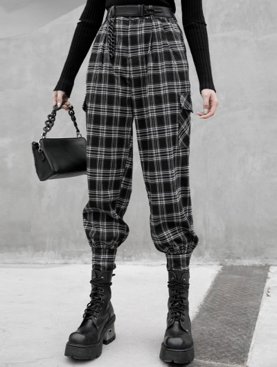 Punk Rave Black and White Plaid Gothic Grunge Long Daily Wear Pants for Women