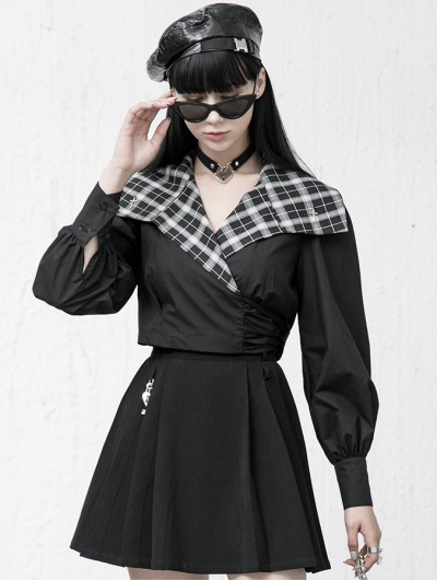 Punk Rave Black and White Street Fashion Gothic Grunge Long Sleeve Short Top for Women