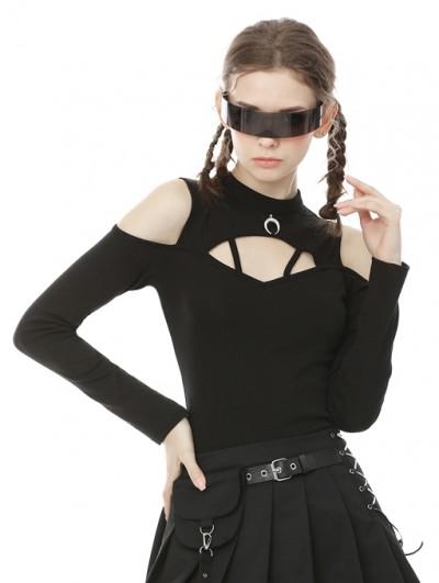 Dark in Love Black Gothic Moon Long Sleeve Daily Wear T-Shirt for Women