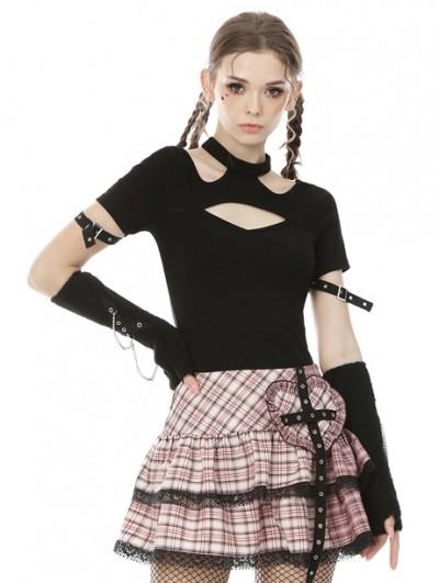 Dark in Love Black Gothic Punk Short Sleeve Daily Wear T-Shirt for Women