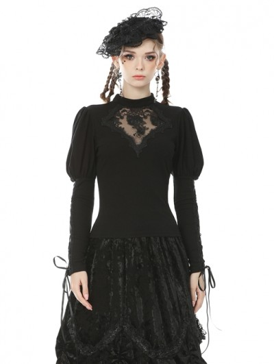 Dark in Love Black Vintage Gothic Lace Long Sleeve Daily Wear T-Shirt for Women