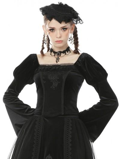 Dark in Love Black Vintage Gothic Victorian Velvet Long Sleeve Shirt for Women