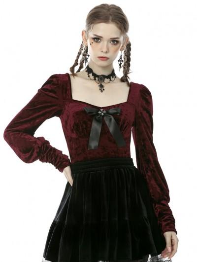 Dark in Love Wine Red Sweet Gothic Velvet Long Sleeve Daily Wear Shirt for Women