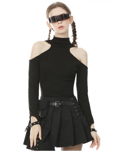 Dark in Love Black Gothic Punk Off-the-Shoulder Long Sleeve Daily Wear T-Shirt for Women