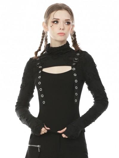 Dark in Love Black Gothic Punk Long Sleeve Daily Wear T-Shirt for Women