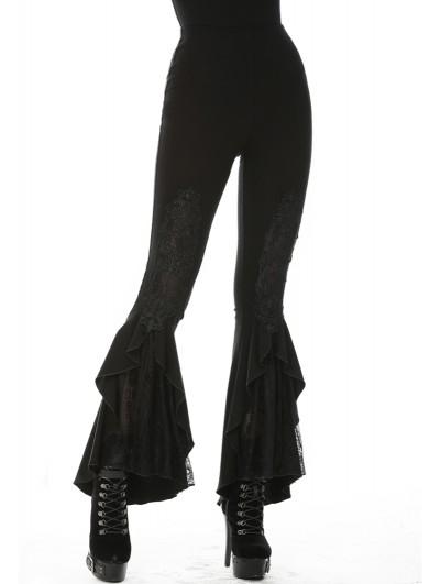 Dark in Love Black Elegant Gothic Lace Daily Wear Flared Legging for Women