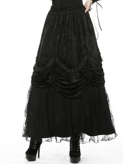Dark in Love Black Vintage Gothic Gorgeous Velvet Long Skirt