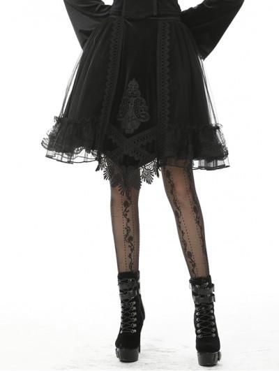 Dark in Love Black Vintage Gothic Velvet Mesh Short Skirt