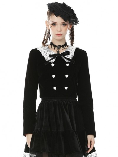 Dark in Love Black and White Retro Gothic Doll Collar Daily Wear Short Jacket for Women