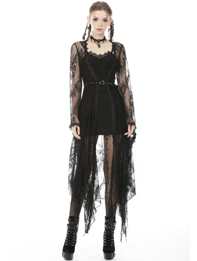 Dark in Love Black Romantic Lace Gothic Sexy Daily Wear Long Trench Coat for Women